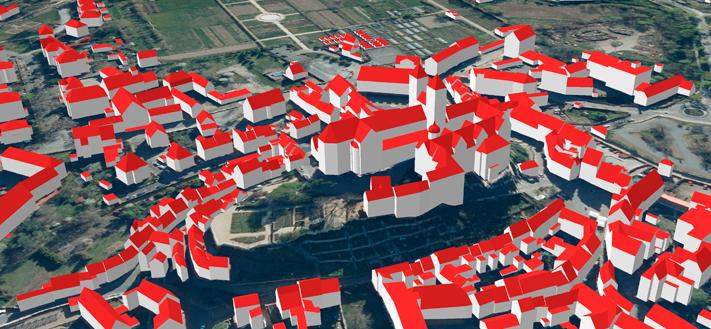 3D-Gebäudemodell: Ausschnitt zeigt Schloss Quedlinburg