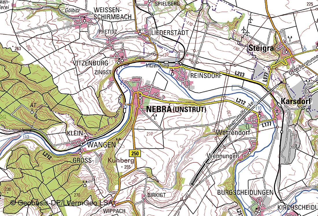 Topographische Karte 1 100 000