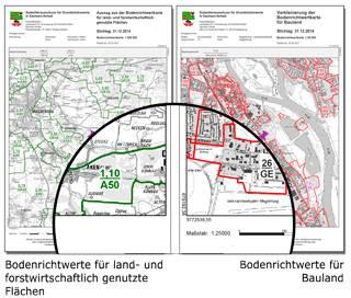 Auszüge aus der Bodenrichtwertkarte