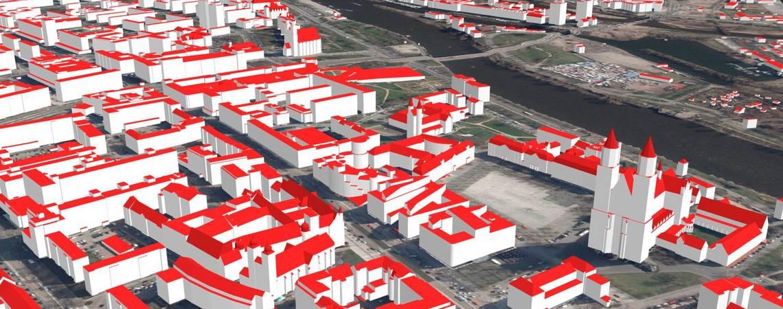 Das 3D-Gebäudemodell steht im Detaillierungsgrad LoD2 landesweit zur Verfügung. ©LVermGeo, LoD2 Magdeburg