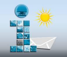 Logo des Infobriefes als Kleinbuchstabe 'i' mit Briefumschlag