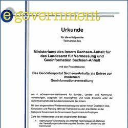 Urkunde 4. eGovernment-Wettbewerb
