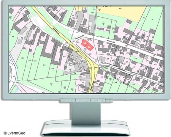 Monitor mit Ausschnitt aus der Liegenschaftskarte
