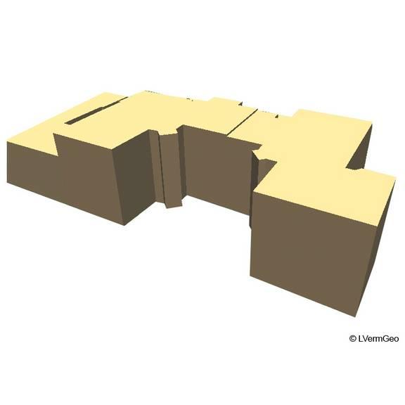 LoD1- Block- bzw. Klötzchenmodell mit einheitlichem Flachdach