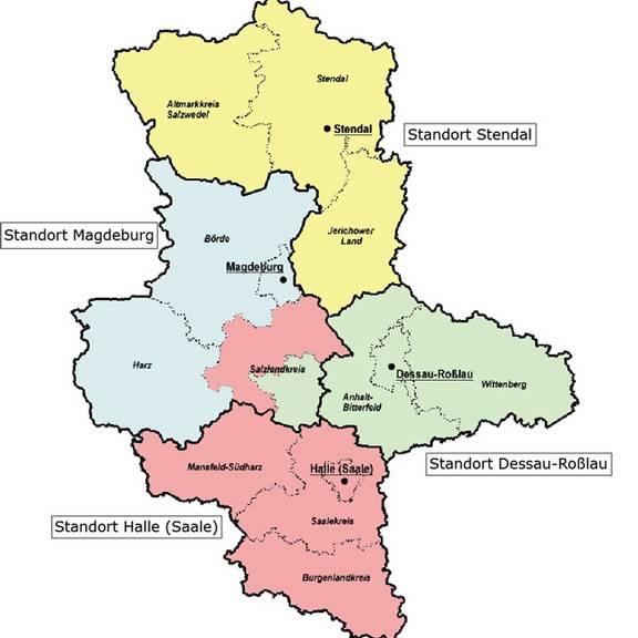 Zuständigkeitsbezirke des LVermGeo