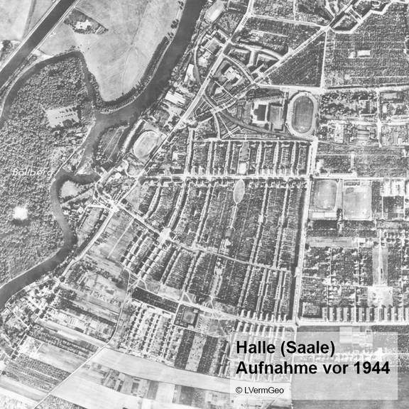 Historischer Bildflug vor 1944 Halle (Saale)