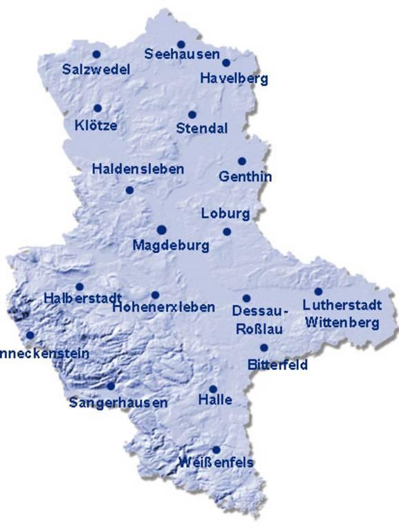 Standorte der 18 SAPOS-Referenzstationen in Sachsen-Anhalt